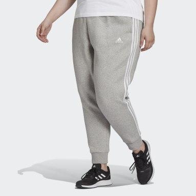 Women Sport Inspired Grey Essentials 3-Stripes Fleece Pants (Plus Size)