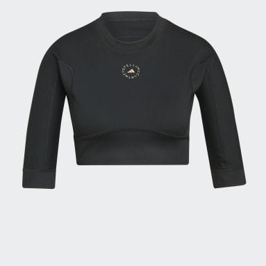 Women adidas by Stella McCartney Black adidas by Stella McCartney TrueStrength Yoga Crop Long-Sleeve Top