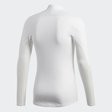 Men Football White Alphaskin Sport Climawarm Long-Sleeve Top