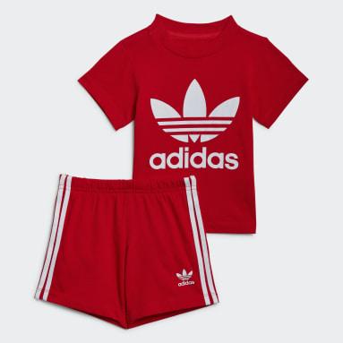 Completo Trefoil Shorts Tee Rosso Bambini Originals