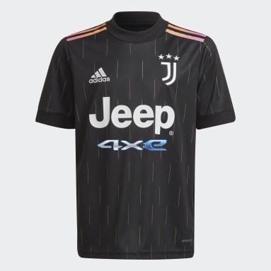 Kinder Fußball Juventus Turin 21/22 Auswärtstrikot Schwarz