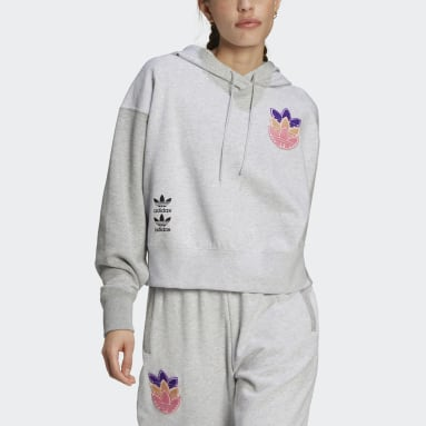 Sweat-shirt à capuche Logo Play Cropped Gris Femmes Originals