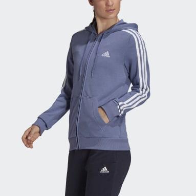Felpa con cappuccio Essentials French Terry 3-Stripes Full-Zip Viola Donna Sportswear