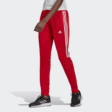 Women Football Red AEROREADY Sereno Cut 3-Stripes Slim Tapered Pants
