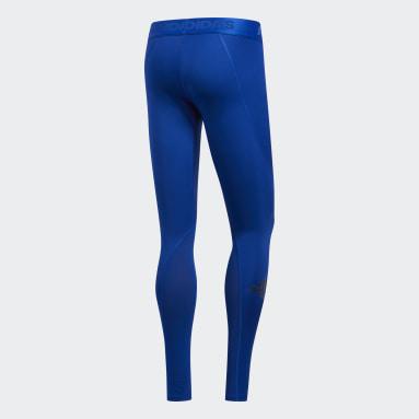 Men Trail Running Blue Alphaskin Sport Long Tights