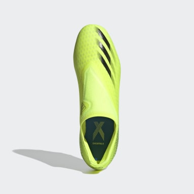 Erkek Futbol Sarı X Ghosted.3 Bağcıksız Çim Saha Kramponu
