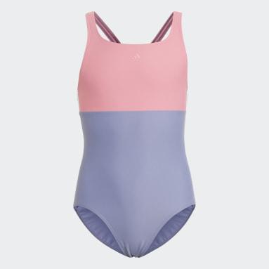 Maillot de bain Colorblock 3-Stripes Violet Filles Natation