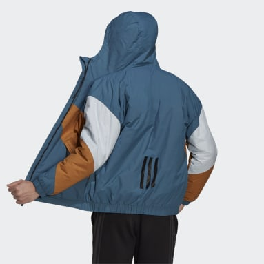 Men City Outdoor Blue Back to Sport Insulated Hooded Jacket
