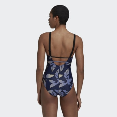 Women Swimming Blue Padded Graphic Swimsuit