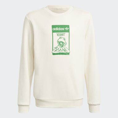 Youth Originals White Disney Kermit Organic Cotton Crew Sweatshirt
