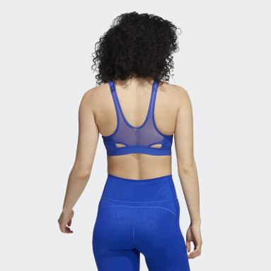 Women Gym & Training Blue Believe This Medium-Support Lace Camo Workout Bra