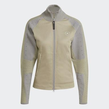 Women adidas by Stella McCartney Beige adidas by Stella McCartney Knit Mix Mid-Layer Jacket