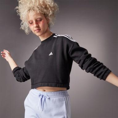 Sudadera Corta Hyperglam Cuello Redondo Negro Mujer Sportswear
