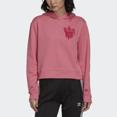 Cropped Hoodie with Trefoil Fringe Embroidery Rosa