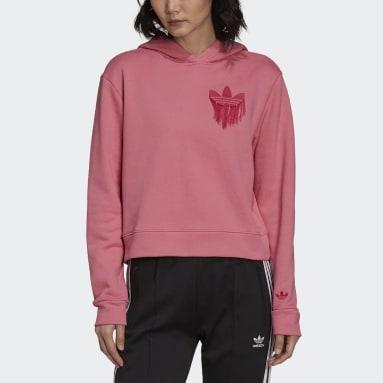 Kvinder Originals Pink Cropped Trefoil Fringe Embroidery hoodie