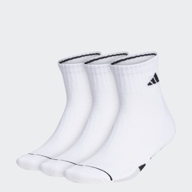 Men's Training White Cushioned Quarter Socks 3 Pairs