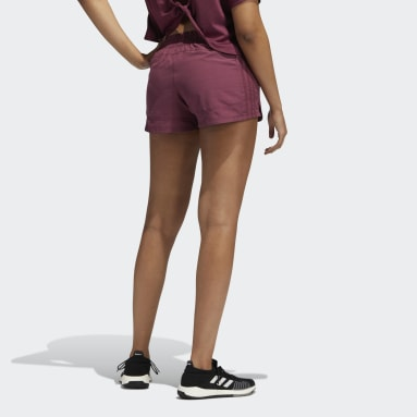 Women's Training Burgundy Pacer 3-Stripes Woven Heather Shorts