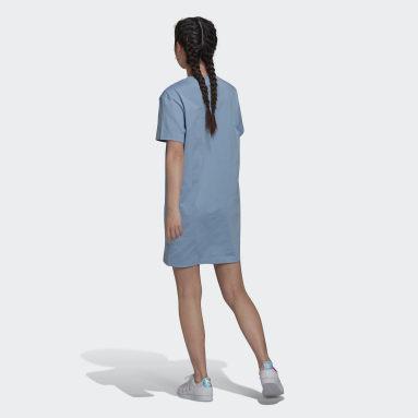 Women Originals Blue Trefoil Application Tee Dress