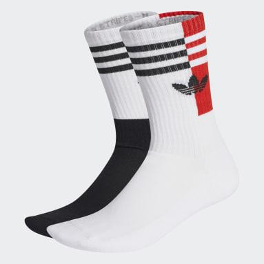 Originals สีดำ ถุงเท้าความยาวครึ่งแข้งคัลเลอร์บล็อก (2 คู่)