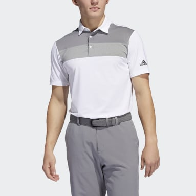 Men Golf White Novelty Colorblock Primegreen Polo Shirt