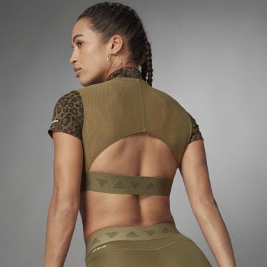 Frauen Running Hyperglam Crop Zip T-Shirt Mehrfarbig