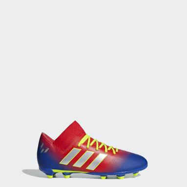 Calzado de Fútbol Nemeziz Messi 18.3 Terreno Firme (UNISEX) Rojo Niño Fútbol
