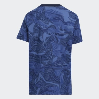 Youth Running Blue Camo Allover Print Tee