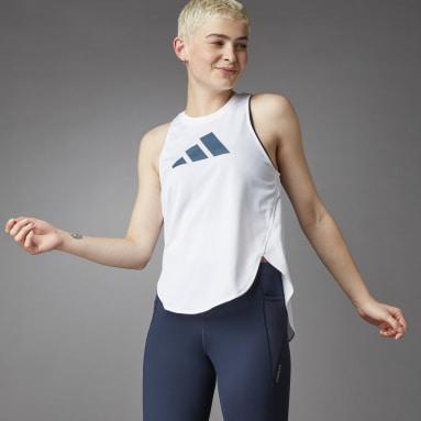 Camiseta sin mangas 3 Bar Logo Blanco Mujer Running