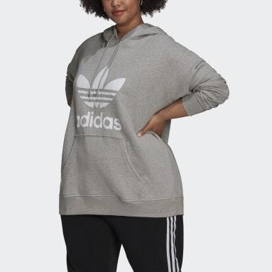 Frauen Originals Trefoil Hoodie – Große Größen Grau