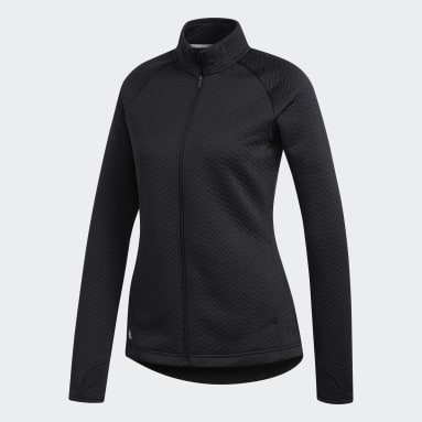 Women Golf Black Textured Layer Jacket