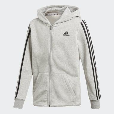 Boys Gym & Training Grey Must Haves 3-Stripes Jacket