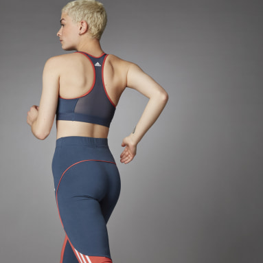 Top Deportivo Don´t Rest 3 Rayas Soporte Medio Azul Mujer Training
