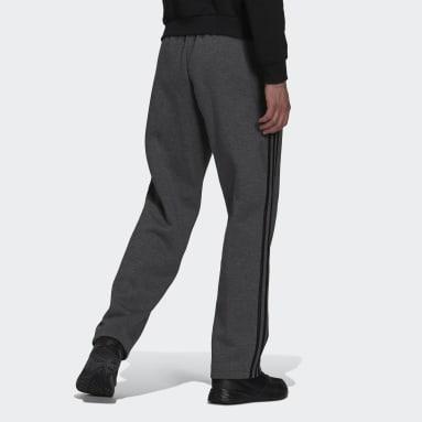 Men's Essentials Grey Essentials Fleece Open Hem 3-Stripes Pants