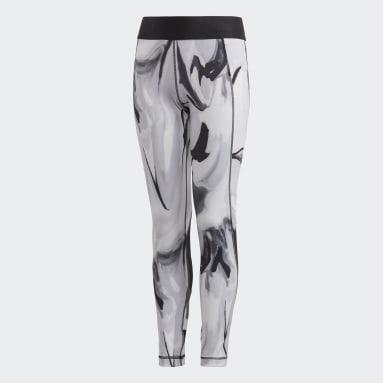 Youth 8-16 Years Gym & Training Grey Alphaskin AEROREADY Printed Leggings