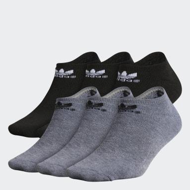 Kids Originals Grey Trefoil No-Show Socks 6 Pairs