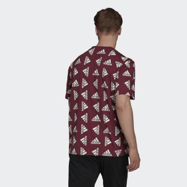 Camiseta Essentials Loose Giant Logo (Género neutro) Burgundy Hombre Sportswear