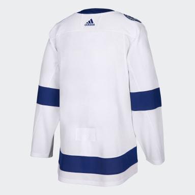 Men Hockey White Lightning Away Authentic Pro Jersey