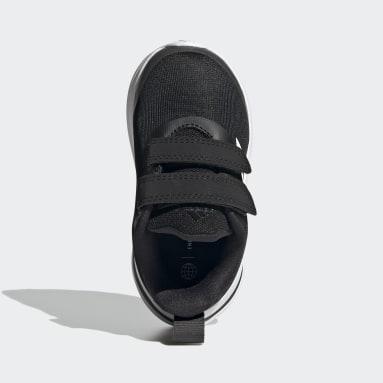 Kids Running Black FortaRun Double Strap Running Shoes