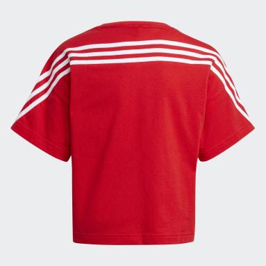 Camiseta Organic Cotton Future Icons Sport Loose 3 bandas Rojo Niña Gimnasio Y Entrenamiento