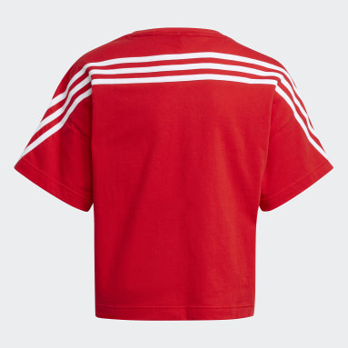 Youth 8-16 Years Gym & Training Red Organic Cotton Future Icons Sport 3-Stripes Loose T-Shirt