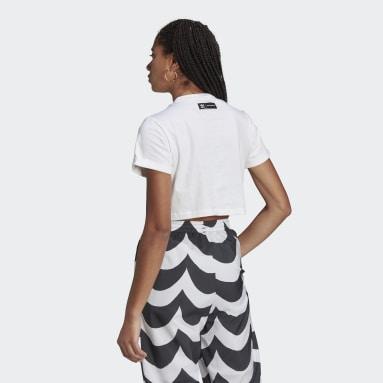 Marimekko Trefoil Infill Cropped T-skjorte Hvit