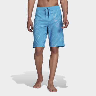 Men Swimming Turquoise Knee-Length Watersword Graphic Board Shorts