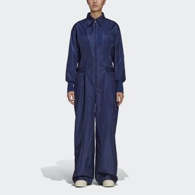 Women Y-3 Blue Y-3 Tech Nylon Silk Jumpsuit