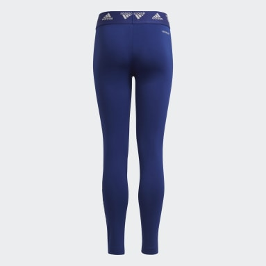 Girls Gym & Training Blue Primegreen AEROREADY Training Dance Move Doubleknit Metallic-Print Tights