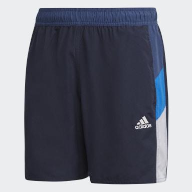 Men Water Sports Blue Short Length Colorblock Swim Shorts