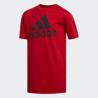 Youth Training Red Climalite Badge of Sport Tee