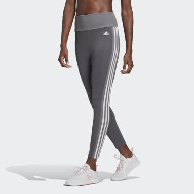 Women Gym & Training Grey Designed To Move High-Rise 3-Stripes 7/8 Sport Tights