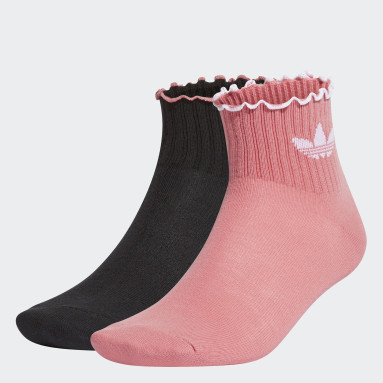 Women Originals Pink Valentine Ruffle Socks 2 Pairs