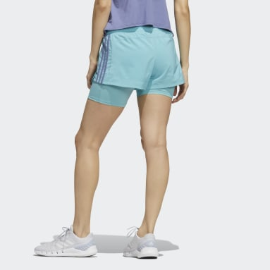 Women Running Green Pacer 3-Stripes Woven Two-in-One Shorts