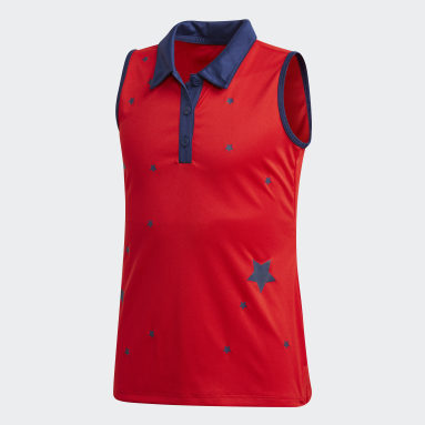Youth Golf Red Printed Sleeveless Polo Shirt